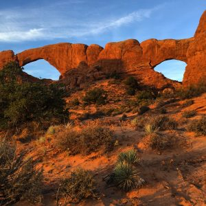 Sunrise at North and South Windows in Arches National Park